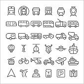 Transport icons simple and thin line design.