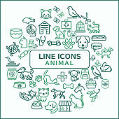 Simple Set of Animal Related Line Icons.