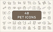Set Of 48 Pet Outline Icons.