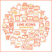 Shopping Outline Icons Set