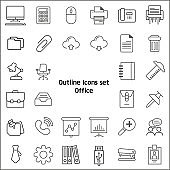 Simple Set of Office Related Line Icons
