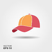 Baseball cap flat vector icon with shadow. Illustration