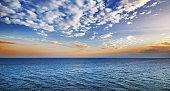 beautiful sunrise on the sea.