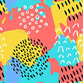 The seamless colorful pattern with black and white lines, spots, dots and other elements. Brush strokes effect. Hand drawn abstract background.