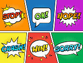 Retro comic speech bubbles set on colorful background. Expression text STOP, OK, NOPE, CRASH, WIN, SORRY.