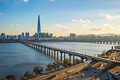 Seoul skyline in Seoul city, South Korea