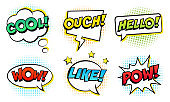 Retro comic speech bubbles set on white background. Expression text COOL, HELLO, LIKE, WOW, POW, OUCH.