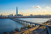 Seoul city skyline with view of Han River in Seoul, South Korea