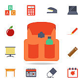 school bag colored icon. Detailed set of colored education icons. Premium graphic design. One of the collection icons for websites, web design, mobile app