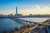 Han River with view of Seoul city skyline in Seoul city, South K