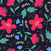 Cute elegant floral hand drawn seamless pattern. Red and blue flowers on dark background.