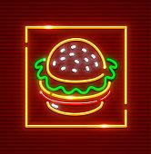 Hamburger fast food. Neon icon. Vector illustration.