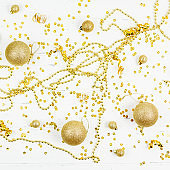Christmas decorative golden toy balls pattern