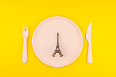 Small Eiffel tower on serving table