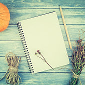 Blank notebook with pencil and autumn pumpkins