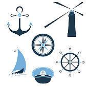 Set of marine objects wheel, captain cap, lighthouse, sailfish, compass, ship anchor.