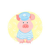 A funny piggy in a sailor's striped T-shirt and captain's visor
