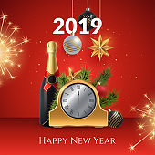 2019 Happy New Year vector illustration. Composition with a golden clock, champagne bottle, fir branches and festive fireworks. Holiday card or invitation template. Decoration element for your design.