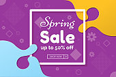 Spring sale colorful abstract promo banner with colored wavy splashes. Spring background with frame and copy space. Vector illustration.