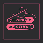 Sewing alterations studio logo design template - simplistic and elegant logotype in pink and gray colors