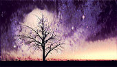 Bare tree silhouette in alien world illustration