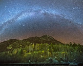 Milky way arc in the starry sky with a meteor over the mountains overgrown with forest