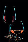 Wine and whiskey glasses on black background - stylized illustration artwork