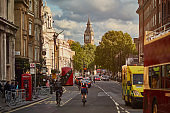 Street in London with Big Ben in the background