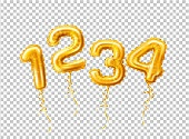 Vector realistic 1 2 3 balloon number for a party