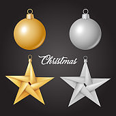 Vector realistic christmas tree toy ball star