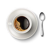 Vector realistic cup coffee saucer spoon top view