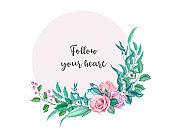 Vector watercolor vintage rose flower wedding card