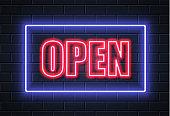 Vector neon open sign brick wall