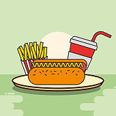 hot dog french fries and soda fast food