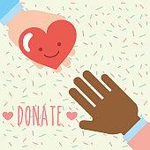multiethnic hands heart love kawaii donate charity