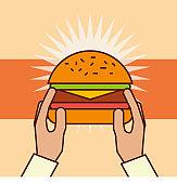 hand holding hamburger fast food