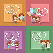 be mine set card couple message balloons cupid colored background