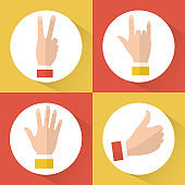 set of hands differents gestures circle icons