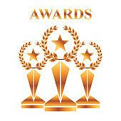 gold awards winning prize star champion