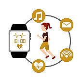 cartoon young woman runner fitness wearable technology smart watch