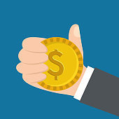 hand holding dollar coin money image