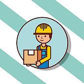 delivery man portrait cartoon with cardboard box