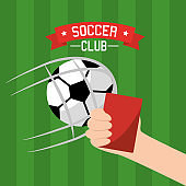 soccer club hand holding red card and ball goal