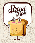 kawaii bread fresh cartoon bake background