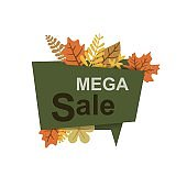 Autumn sale banner with leaves.