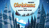 santa claus flying in sledge with reindeers night sky over moon merry christmas happy new year horizontal winter holidays concept flat