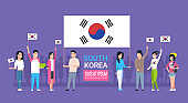 Group Of Young People Holding Korean Flag South Korea Youth Men And Women