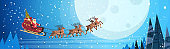 santa claus flying in sledge with reindeers night sky over moon merry christmas happy new year horizontal banner winter holidays concept flat