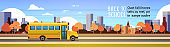 yellow bus back to school pupils transport concept on autumn cityscape background flat copy space banner
