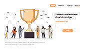 business people near golden trophy cup first place winner concept successful teamwork number one victory strategy horizontal copy space line
